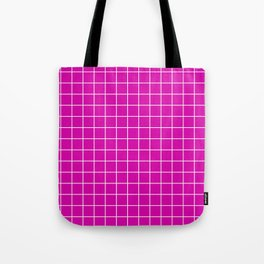 Magenta with White Grid Tote Bag