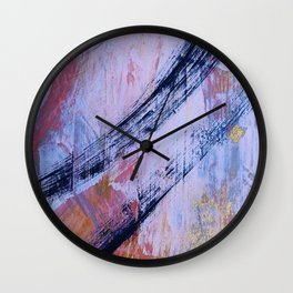 Playfully: a vibrant, minimal, abstract painting in pink and gold by Alyssa Hamilton Art Wall Clock