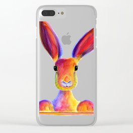 Happy Hare Rabbit ' JUST TO SAY HELLO ' by Shirley MacArthur Clear iPhone Case