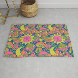 Psychedelic Daydream in Neon + Blue Rug