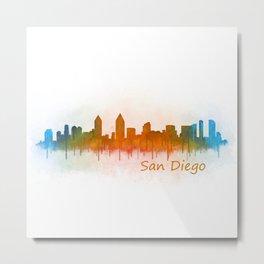 San Diego California City Skyline Watercolor v0 Metal Print
