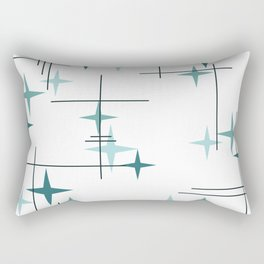 Mid Century Modern Stars (Teal) Rectangular Pillow