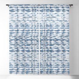 Glitch Waves - Classic Blue Sheer Curtain