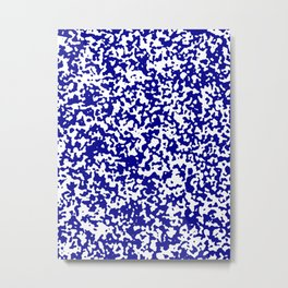 Small Spots - White and Dark Blue Metal Print