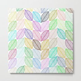 Colorful abstract stylized leafs pattern Metal Print
