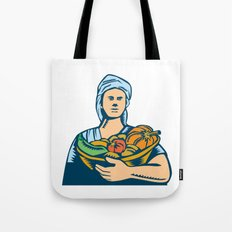 Lady Organic Farmer Produce Harvest Woodcut Tote Bag