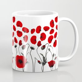 Modern Black and Red Flowers and Petals Coffee Mug