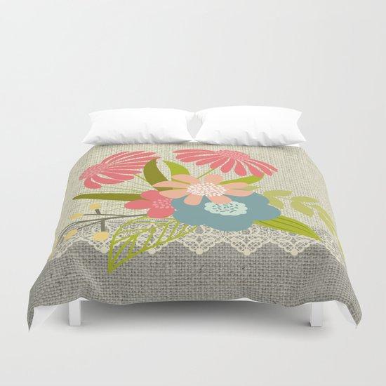 Flower bouquet lace burlap #1 Duvet Cover
