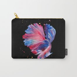 Betta Splendens Fish - Black Background Carry-All Pouch