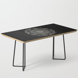 N43 - Moroccan Pure Leather with Silver Moroccan Mandala Artwork by ARTERESTING Coffee Table