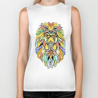 metallic Biker Tanks featuring Metallic Lion by J&C Creations