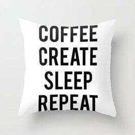 Coffee Create Sleep Repeat Gift Throw Pillow