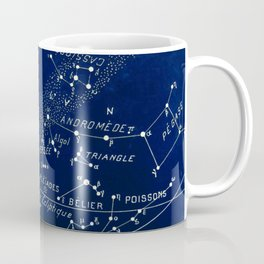 French January Star Map in Deep Navy & Black, Astronomy, Constellation, Celestial Coffee Mug