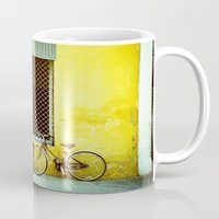 bicycles Mugs featuring Bicycles by The Dalai Lomo
