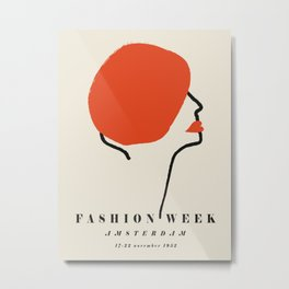 Poster-Faschion week-Amsterdam-red. Metal Print