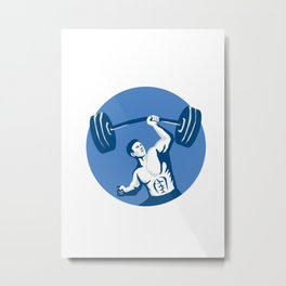 Strongman Lifting Barbell One Hand Stencil Metal Print