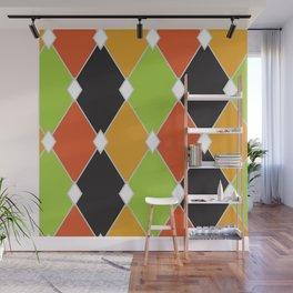 Orange, green and black jester diamonds Wall Mural