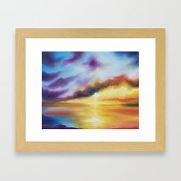 Rainbow Sunset Painting, Bright Beach Painting, Light Beautiful Sunset Art, Original Artwork, Sunset Framed Art Print