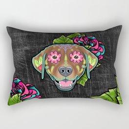 Labrador Retriever - Chocolate Lab - Day of the Dead Sugar Skull Dog Rectangular Pillow