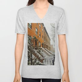 Brooklyn Wintertime is coming Brownstone Unisex V-Neck