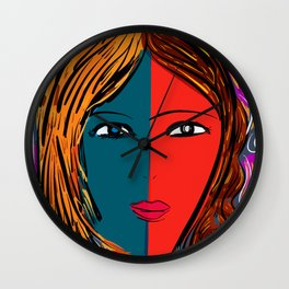 The Blue red girl portrait Wall Clock