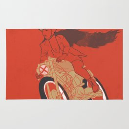 long hair girl riding a motorcycle Rug