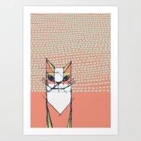 Cubist Cat Study #7 by Friztin Art Print