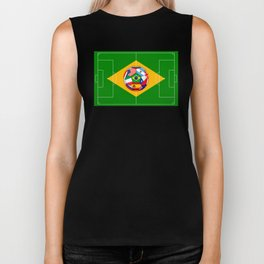 football field and ball with flags Biker Tank