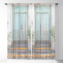 Turquoise Door Sheer Curtain