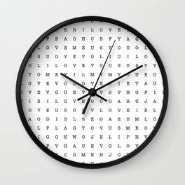 LOVE word search Wall Clock