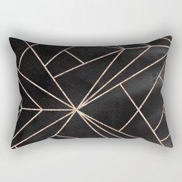 Elegant modern black rose gold watercolor geometrical pattern Rectangular Pillow