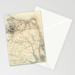 Vintage Map of Norfolk and Virginia Beach (1891) Stationery Cards