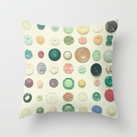 cassia beck Throw Pillows featuring The Button Collection by Cassia Beck