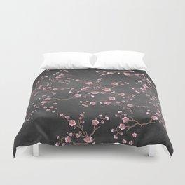 SAKURA LOVE - GRUNGE BLACK Duvet Cover