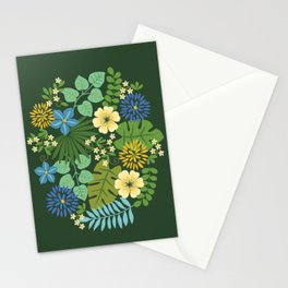 Tropical Blue and Yellow Floral Stationery Cards