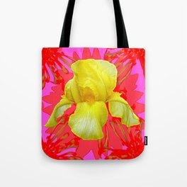 YELLOW IRIS MODERN ART RED FLORAL ABSTRACT Tote Bag