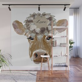 Cow with Love Hat Wall Mural