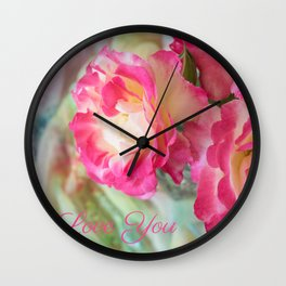 Lovely Roses with I Love You Wall Clock