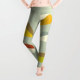 Mid Century Modern Single Leaf Pattern 1. Vintage green Leggings