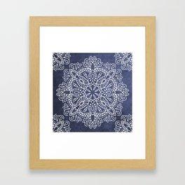 Mandala Vintage White on Ocean Fog Gray Framed Art Print