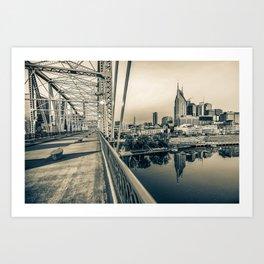 Nashville Skyline - Shelby Street Bridge View in Sepia Art Print