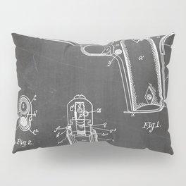 Colt Pistol Patent - Browning 1911 Colt Art - Black Chalkboard Pillow Sham