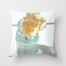 Pink and Yellow Tulips in Vintage Blue Jar Throw Pillow