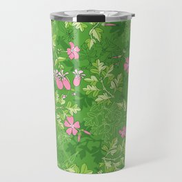 Forest Wildflowers / Green Background Travel Mug