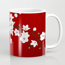 Red Black And White Cherry Blossoms Coffee Mug