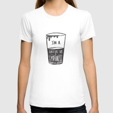 glass half full of emptiness MEDIUM White Womens Fitted Tee