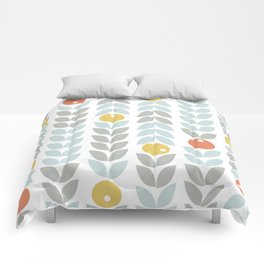 Mid Century Modern Retro Leaf and Circle Pattern Comforters
