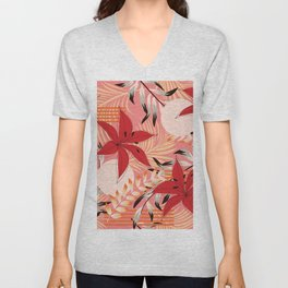 Retro Red Flowers on Coral Unisex V-Neck