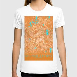 Milton Keynes, England, Gold, Blue, City, Map T-shirt