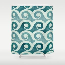 Vintage Waves - Tropical Teal Shower Curtain